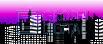 Stylized City Skyline 2 Projected Backdrop for 42nd Street, Abstract, Annie, Big Fish, Broadway/New York, Crazy for You, Damn Yankees, Dance, Elf the Musical, Exteriors, Guys and Dolls, How to Succeed in Business, Newsies, Skylines, Thoroughly Modern Millie