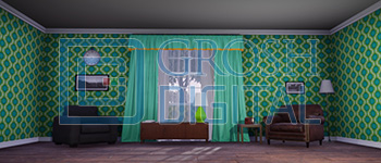 Green Living Room Projected Backdrop for