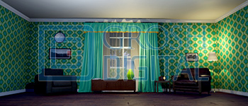 Green Living Room at Night Projected Backdrop for
