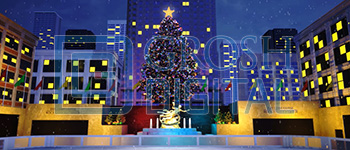 Rockefeller Center at Christmas Projected Backdrop for Broadway/New York, Elf the Musical