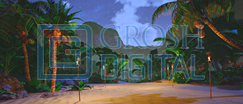 Nighttime  Island Projected Backdrop for Beach/Tropical, Madagascar, Moana, Peter Pan