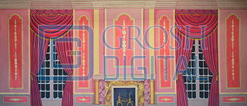 Pink Victorian Parlor Projected Backdrop for Dance, Interiors, Little Mermaid, Mary Poppins, Nutcracker, Palace/Parlors