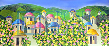 MunchkinLand Projected Backdrop for Exteriors, Wizard of Oz
