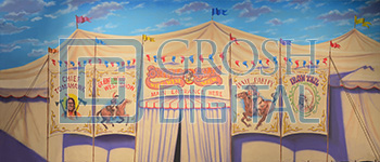 Circus Tent Exterior Projected Backdrop for Annie Get Your Gun, Big Fish, Exteriors, Grease, Western