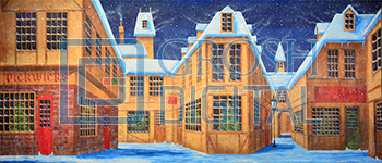 English Winter Village Projected Backdrop for A Christmas Carol, Holiday, Snows, Streets, Towns, Villages