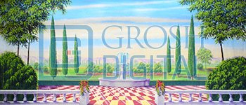 Garden with Red and Yellow Checkered Floor Projected Backdrop for Alice in Wonderland, Gardens