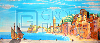 Capri Beach Projected Backdrop for Beach/Tropical, Mamma Mia, Travel