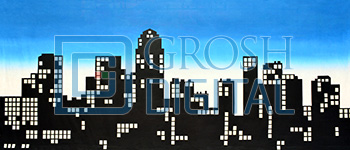 New York Skyline Silhouette Projected Backdrop for Annie, Exteriors, Guys and Dolls, Skylines