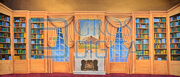 Wooden Victorian Parlor Projected Backdrop for Addams Family, Interiors, Mary Poppins