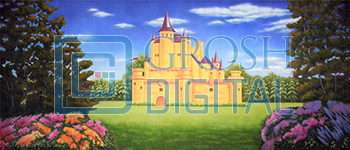 Stylized Castle Projected Backdrop for Beauty and the Beast, Cinderella, Exteriors, Little Mermaid, Shrek, Sleeping Beauty