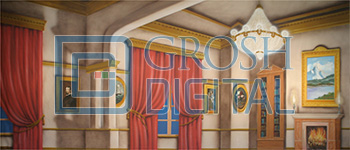 Victorian Parlor Interior Projected Backdrop for