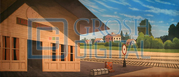 Train Station Projected Backdrop for 42nd Street, Bye Bye Birdie, Music Man, Oklahoma, Towns, Travel, Western
