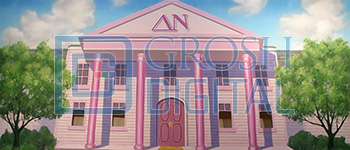 Sorority House Exterior Projected Backdrop for Exteriors, Legally Blonde