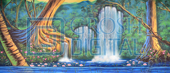 Lagoon with Waterfall Projected Backdrop for Beach/Tropical, Landscapes, Little Mermaid, Peter Pan