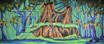 Shrek House Projected Backdrop for