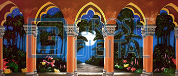 Tropical Garden with Arches at Night Projected Backdrop for Aladdin, Cinderella, Gardens, Little Mermaid, Mary Poppins