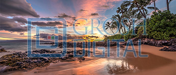 Hawaii Beach at Sunset Projected Backdrop for Beach/Tropical, Exteriors, Madagascar, Moana