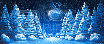 Night Snow Landscape 1 Projected Backdrop for A Christmas Carol, Elf the Musical, Forest, Frozen, Landscapes, Nutcracker, Snow Backdrop Projections