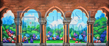 Garden with Arches Projected Backdrop for Beauty and the Beast, Gardens, Mary Poppins