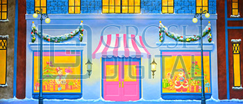 Christmas Storefront Projected Backdrop for Elf the Musical, Holiday