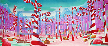 Candy Cane Forest Projected Backdrop for Abstract, Charlie and the Chocolate Factory, Dance, Forest, Holiday, Nutcracker