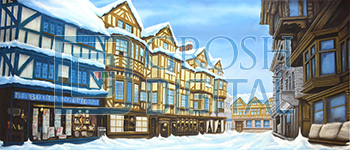 European Winter Street Projected Backdrop for A Christmas Carol, Beauty and the Beast, Frozen, Holiday, Streets, Villages