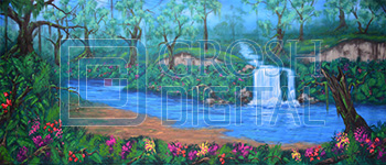 Jungle Oasis Projected Backdrop for Beach/Tropical, Forest, Lion King, Madagascar, Peter Pan