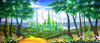 Oz Emerald City Projected Backdrop for Exteriors, Landscapes, Wizard of Oz