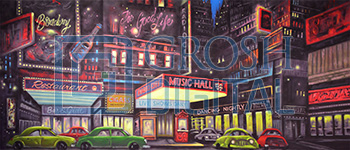 Broadway Projected Backdrop for Annie, Exteriors, Guys and Dolls, Skylines, Streets