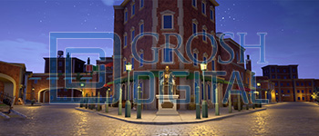 Nighttime Newsies Square Projected Backdrop for Broadway/New York, Exteriors, Newsies, Streets, Towns