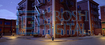 Nighttime New York Street Corner Projected Backdrop for Annie, Exteriors, Newsies, Streets, Towns