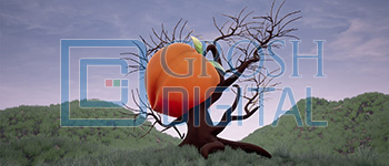 Peach Tree on a Cloudy Day Projected Backdrop for Abstract, Alice in Wonderland, Big Fish, Exteriors, Gardens, James and the Giant Peach, Landscapes