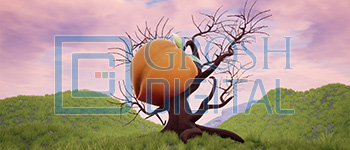 Peach Tree in the Morning Projected Backdrop for Abstract, Alice in Wonderland, Big Fish, Exteriors, Gardens, James and the Giant Peach, Landscapes, Shrek
