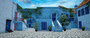 Daytime Greek Village Projected Backdrop for Beach/Tropical, Exteriors, Mamma Mia, Villages