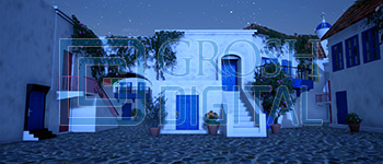 Nighttime Greek Village Projected Backdrop for Beach/Tropical, Exteriors, Mamma Mia, Villages