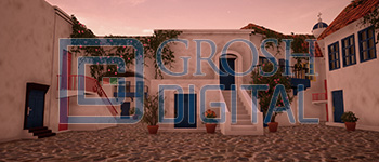 Greek Village at Sunset Projected Backdrop for Beach/Tropical, Exteriors, Mamma Mia, Villages