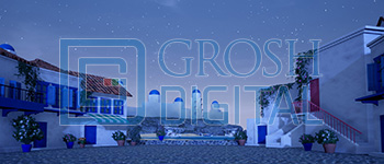 Nighttime Seaside Village Projected Backdrop for Beach/Tropical, Exteriors, Mamma Mia, Show, Villages