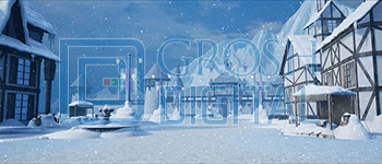 Wintertime in the Village Projected Backdrop for Beauty and the Beast, Frozen, Snows, Towns, Villages