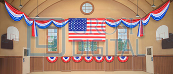 Patriotic Gymnasium Projected Backdrop for Celebration, Gymnasium, Interiors, Music Man