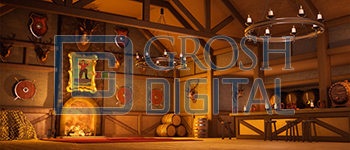 Gaston's Tavern Projected Backdrop for A Christmas Carol, Beauty and the Beast, Brigadoon, Crazy for You, Interiors, Into the Woods, Seven Brides for Seven Brothers, Shrek, Sleeping Beauty, Towns, Villages, Western