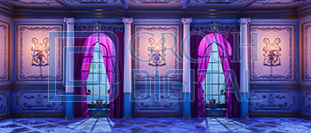 Elegant Interior Bedroom Projected Backdrop for Beauty and the Beast, Castles, Cinderella, Interiors, My Fair Lady, Palace/Parlors, Sleeping Beauty