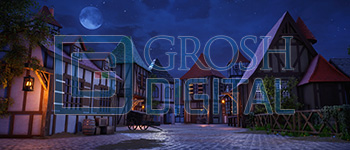 Town at Night Projected Backdrop for Beauty and the Beast, Coppelia, Giselle, Seven Brides for Seven Brothers, Towns, Villages