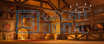 Tavern Interior Projected Backdrop for A Christmas Carol, Beauty and the Beast, Brigadoon, Fiddler on the Roof, Interiors, Seven Brides for Seven Brothers, Shrek, Towns, Villages, Western