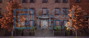 Daytime Brownstone Projected Backdrop for 42nd Street, Annie, Broadway/New York, Crazy for You, Elf the Musical, Exteriors, Madagascar, Streets, West Side Story