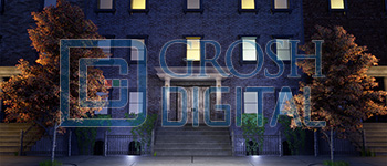 Nighttime Brownstone Projected Backdrop for
