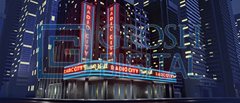 Radio City Music Hall Exterior Projected Backdrop for Annie, Broadway/New York, Crazy for You, Elf the Musical, Exteriors, Guys and Dolls, Theater, Themes