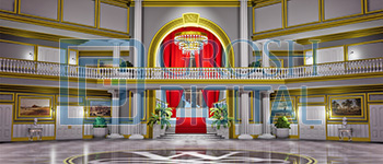 Warbucks Mansion Projected Backdrop for