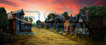 Village at Sunset Projected Backdrop for