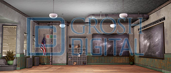 Classroom Interior Projected Backdrop for High School Musical, Interiors, Matilda