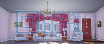 Kitchy Living Room Projected Backdrop for Hairspray, Interiors, Matilda, Palace/Parlors